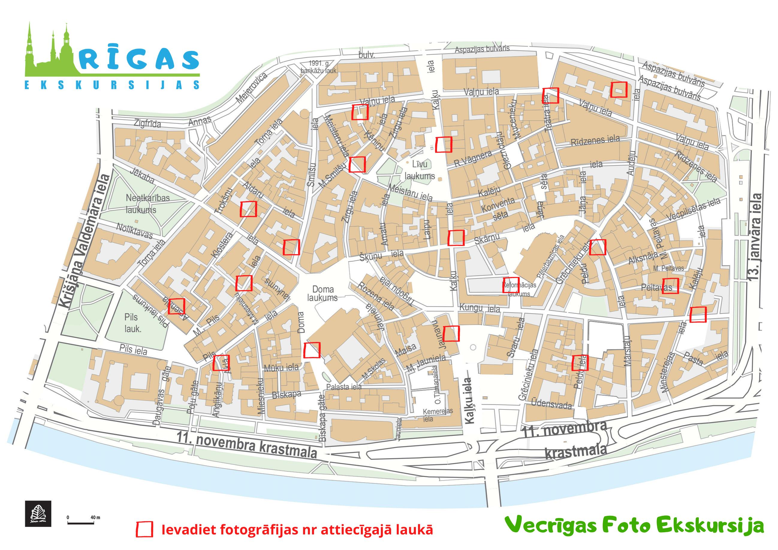 Rīgas foto ekskursijas karte